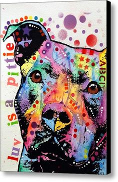 Thoughtful Pitbull Luv Is A Pittie Canvas Print / Canvas Art By Dean Russo