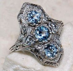 Gorgeous 2.0 Ct Natural Aquamarine 925 Solid Genuine Sterling Silver Art Deco Ring at Old English Silver on eBay with Current bid: US $3.81