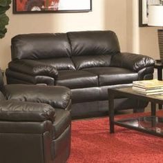 Loveseat with Split Back in Black LeatherLike Fabric * Click image for more details.Note:It is affiliate link to Amazon. #35likes