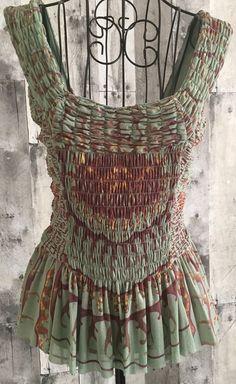 Vivienne Tam Smocked Blouse Top Peplum Asian Art Print Nylon Mesh Lined Size 0 #VivienneTam #Top