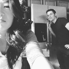 Arden Cho and Dylan Sprayberry on the set of Max Carver, Victoria Moroles, Jill Wagner, Charlie Carver, Arden Cho, Dylan Sprayberry, Daniel Sharman, Cody Christian, Crystal Reed