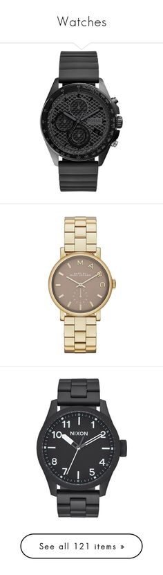 """""""Watches"""" by hellotuna ❤ liked on Polyvore featuring jewelry, watches, chronograph watch, sport wrist watch, sports wrist watch, sports jewelry, fossil watches, accessories, gold and waterproof wrist watch"""