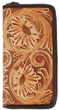 Large Leather Hand Tooled Zippered Wallet, 12 Credit Card Slots, 3 Cash / Notes Compartments, 1 Zippered Center Pocket, Brown Leather Interior Tom Barrington. $129.95