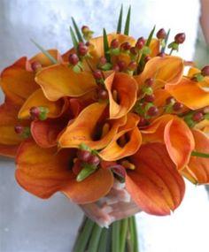 Orange Calla Lily Wedding Bouquets