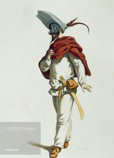 Yooniq images - Fritellino in 1580, illustrated by Maurice Sand (1823-1889), engraving from the Commedia dell'Arte study entitled Masques et bouffons, comedie italienne, Paris, 1860. France, 19th century.