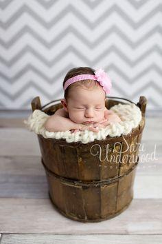 newborn baby girl posed in a vintage bucket.  pink and grey chevron.    orlando newborn photographer - sari underwood photography