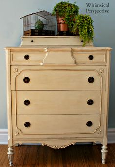 Whimsical Perspective: A Whimsical Makeover: The Old Ochre Dresser Edition with Annie Sloan Unfolded