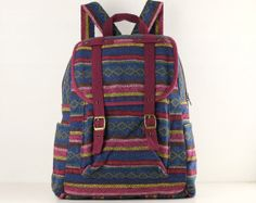 Your place to buy and sell all things handmade Weaving Textiles, Rucksack Backpack, Black Cotton, Fashion Backpack, Needlework, Cotton Fabric, Folk, Buy And Sell, Backpacks