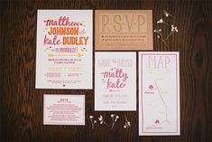 Cute wedding invitation suite.