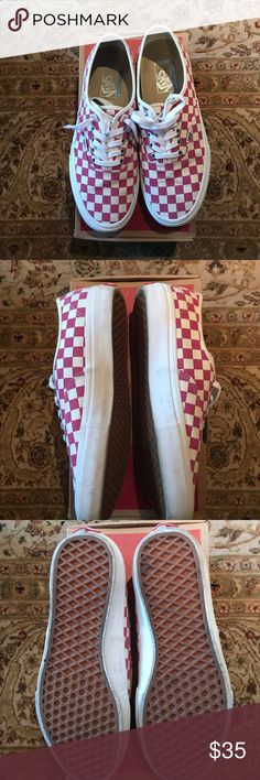 a0db686ca85571 Authentic Checkerboard Van Fuschia Authentic Checkerboard Van Fuschia -  Hardly worn - Size 10 - Comes with extra shoe laces Vans Shoes Sneakers