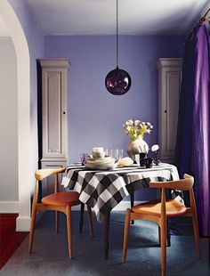 Here are our favorite dining room paint colors. Before you buy that dining room furniture set, decide on the rich color hue for your dining room walls. For more paint and colors ideas and dining room paint colors go to Domino. Dining Room Furniture Sets, Dining Room Walls, Dining Room Lighting, Dining Chairs, Eclectic Furniture, Modern Furniture, Furniture Design, Dining Room Paint Colors, Purple Rooms