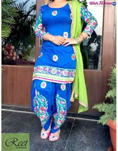 Give yourself a stylish & punjabi look with this Stunning Blue Full Embroidered Punjabi Suit. Embellished with embroidery work & lace work. Available with matching bottom & dupatta. It will make you noticable in special gathering. For more details whatsapp us: +919915178418