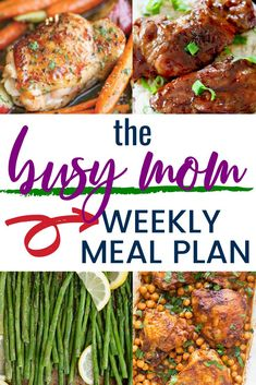 Are you looking for a weekly meal plan that is quick and easy? Check out this busy moms weekly meal plan for all kinds of great recipes that are quick and easy! Easy Weekly Meals, Quick Meals, Easy Dinners, Freezer Meals, Veggie Recipes, Easy Dinner Recipes, Easy Recipes, Large Family Meals, Family Meal Planning