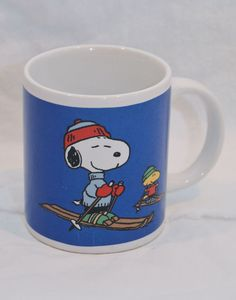 Peanuts Snoopy and Woodstock Skiing Coffee Mug Blue