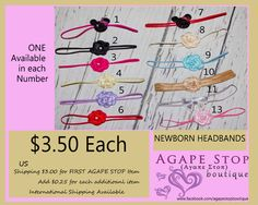 Newborn Headbands..Great Photography Props From Agape Stop Boutique https://www.facebook.com/agapestopboutique?ref=hl