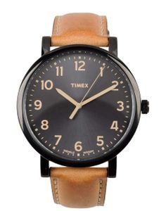 Large black face Timex with camel strap - great for casual wear!