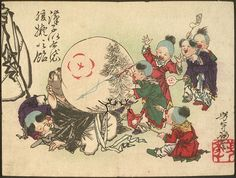 Children Blowing Up Hotei's Belly and Painting It Like Candy - Tsukioka Yoshitoshi (1839–1892) - Ukiyo-e Japanese woodblock printing (Public Domain Review)