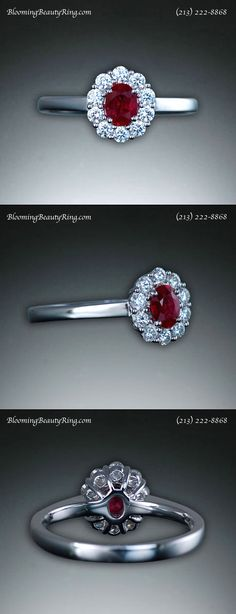 Oval shape Diamond and Ruby Halo Ring by BloomingBeautyRing.com  (213) 222-8868
