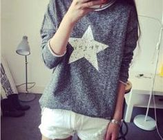 Long Sleeve Star Design Sweater