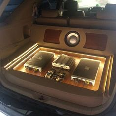 Toyota SUV rear hatch wood floor car audio amp rack leds distribution trunk