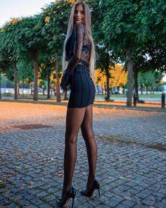 Legs For Days, Skater Skirt, Mini Skirts, Elegance Style, Ootd, Elegant, Heels, Nylons, Beauty