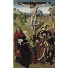 "CIRCLE OF DIERIC BOUTS, CIRCA 1480 - 1490 ""THE CRUCIFIXION WITH THE VIRGIN MARY, THE MAGDALENE AND ST. JOHN"" oil on panel 43 1/2 by 27 in.; 110.5 by 68.6 cm. Sotheby's"