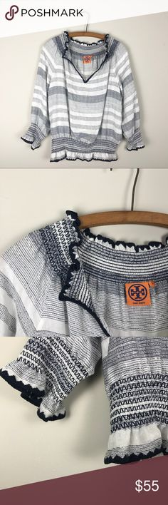 Tory Burch Gauze Peasant Blouse Size 10. Excellent condition. Tory Burch Tops Blouses