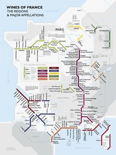 Metro France Wine Map Poster Travel Poster - 46 x 61 cm Metro France, France Map, Tours France, France Info, French Wine Regions, Metro Map, Subway Map, Wine Education, Michelin Star