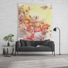 Red Blots in the Sun by StudioRS Designs . poppy, poppies, tapestry, contemporary, decor, sunny, rustic, red, bright yellow, meadow, abstract