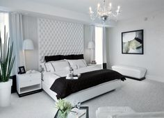 Gorgeous Modern Style white and green bedroom decor with extra tall white tufted headboard bed, super tall headboard, luxury tall bed,