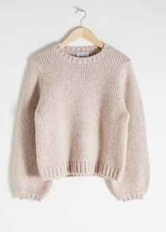 Wool Blend Chunky Knit Sweater - Beige - Sweaters - & Other Stories Winter Sweaters, Wool Sweaters, Oversized Sweaters, Vintage Sweaters, Pullover Sweaters, Sweater Outfits, Cute Outfits, Pullover Outfit, Angora