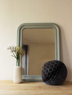 miroir ancien style louis philippe, vert amande