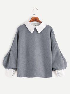 Shop Contrast Trim Lantern Sleeve Button Back Blouse online. SheIn offers Contrast Trim Lantern Sleeve Button Back Blouse & more to fit your fashionable needs. Contrast Collar Shirt, Collar Top, Collar Blouse, Collar Shirts, Teen Fashion Outfits, Casual Outfits, Puffy Sleeves Blouse, Mode Kawaii, Grey Long Sleeve Shirt