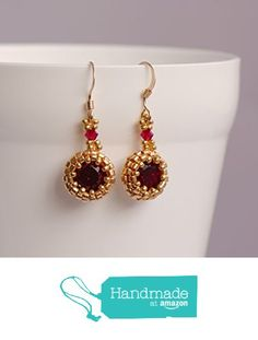Ruby and Gold Crystal Drop Earrings from Turquoisebee https://www.amazon.co.uk/dp/B06XNYHG1M/ref=hnd_sw_r_pi_dp_L1JZyb7P4PC2X #handmadeatamazon