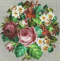 Berlin WoolWork Large Floral Bouquet Pattern By Carl F W Wicht