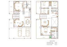 Plantas de Sobrados com 4 Quartos Grátis Craftsman Floor Plans, Internal Design, Apartment Floor Plans, Modern Contemporary Homes, House Drawing, House Elevation, Architecture Plan, Pallet Furniture, Bungalow