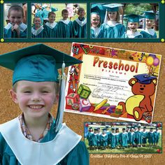 Graduation preschool or kindergarten School Scrapbook Layouts, Kids Scrapbook, Scrapbook Paper Crafts, Scrapbooking Layouts, Scrapbook Cards, Pre School Graduation Ideas, Preschool Graduation, I Love School, School Days