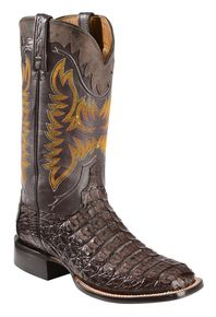 Mens Wide Square Toe Brown Greasy Finish Genuine Leather Caiman Belly Skin Western Boots