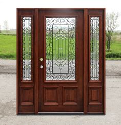 Exterior Doors with Sidelights on discount, Solid Wood Doors priced below wholesale. Solid Mahogany wood doors and Solid Alder doors at Clearance Door Prices Craftsman Style Exterior, Craftsman Door, Rustic Exterior, Modern Exterior, Exterior Doors With Sidelights, Exterior Entry Doors, Entrance Doors, Rustic Doors, Iron Doors