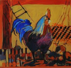 Cockerel 1 by Rika De Klerk Roosters, Hens, Figurative Art, Painting Inspiration, Oil, Contemporary, Animals, Animales, Animaux