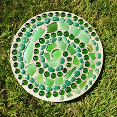 Beach Glass & Rock Swirl Garden Stepping Stone