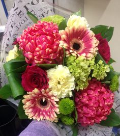 Bouquet of pink, green and cream! Commercial mums, gerbera daisies, hydrangea, roses, carnations and Kermit's