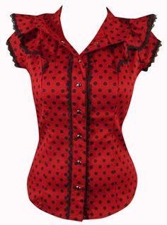 ruffle shirt polka dot