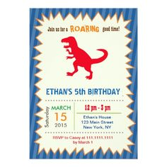 Dinosaur T Rex Birthday Party Invitations