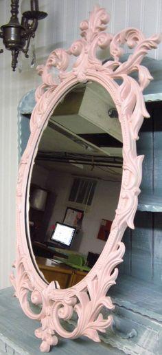 Vintage Ornate Resin  Scrolled Mirror in Ballerina by redposie, $89.00