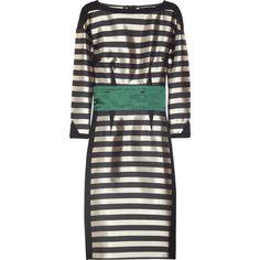 Sonia Rykiel Striped satin-twill dress (44.025 RUB) ❤ liked on Polyvore featuring dresses, green, vestidos, black, green satin dress, loose fit dress, 3/4 sleeve dress, satin dress and loose fitting dresses