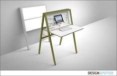 HIDEsk offers new options of working in small spaces: This pop-up office can change a bedroom within seconds into a small but functional working space. Your office can be wherever you are or your work is.
