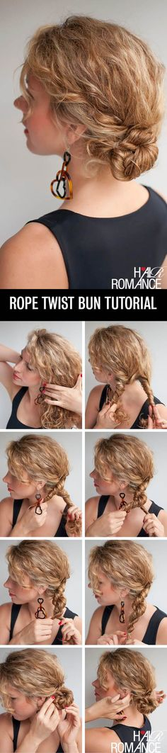 Hair Romance - rope twist braid bun hairstyle tutorial for curly hair