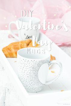 Schnelles DIY für Valentinstag - bemalte Tassen mit Herzen // DIY for Valentine's Day - Sweetheart Mugs