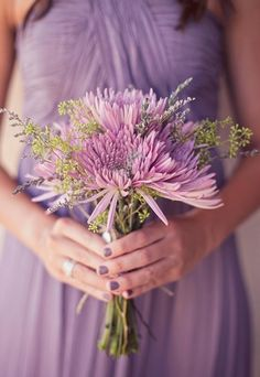 Spider Mums, Lavender and Seeded Eucalyptus come together in this charming lavender/pastel bouquet. All of the flowers are available for the most part year-round at GrowersBox.com.